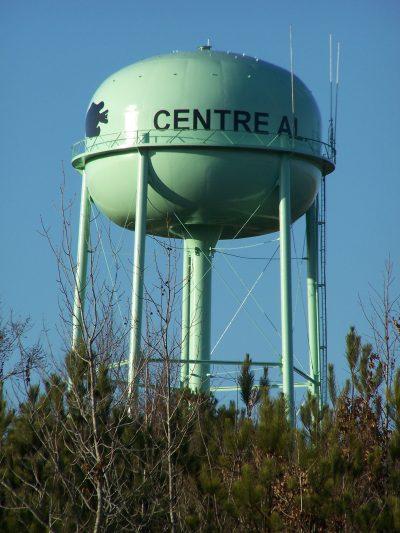 Centre, Alabama - water tank with fish logo